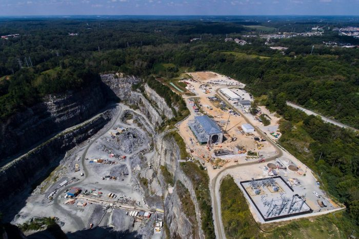overhead view of Atlanta Water project at Bellwood Quarry